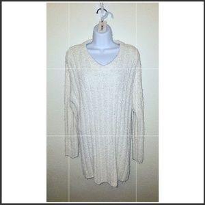 Carole Little Ivory Super Soft V-neck Sweater